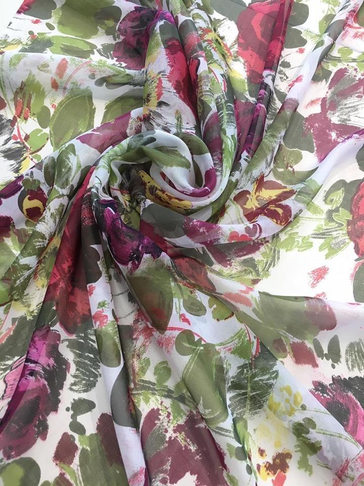 Cabbage Roses Silk Chiffon