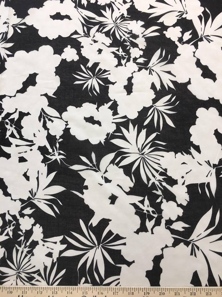 Black and White Botanical Sheer Cotton