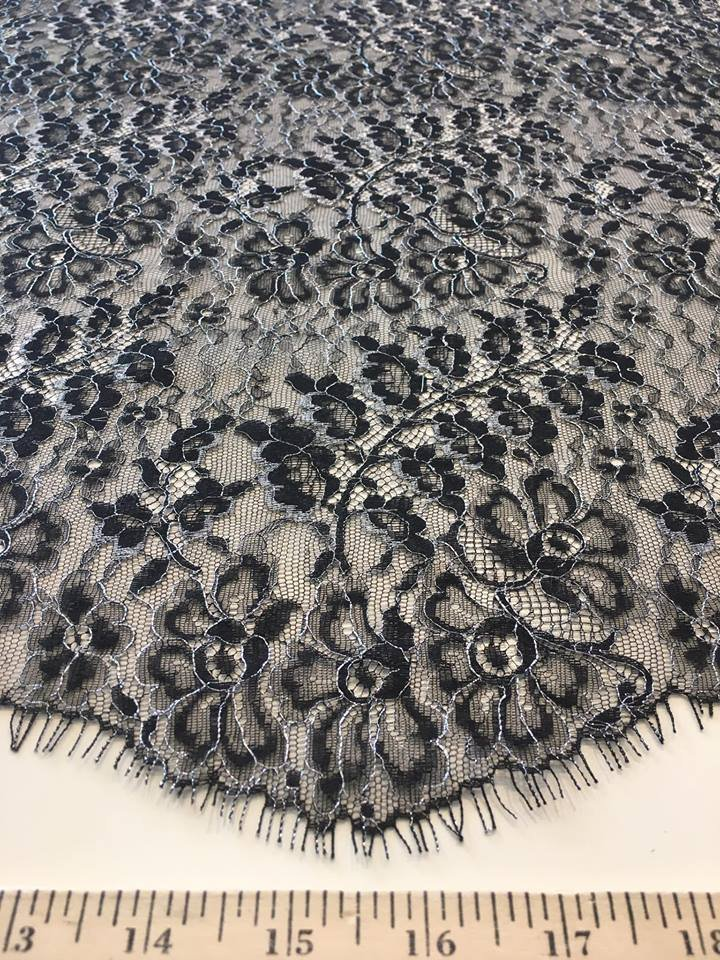 Silver and Black Chantilly Lace