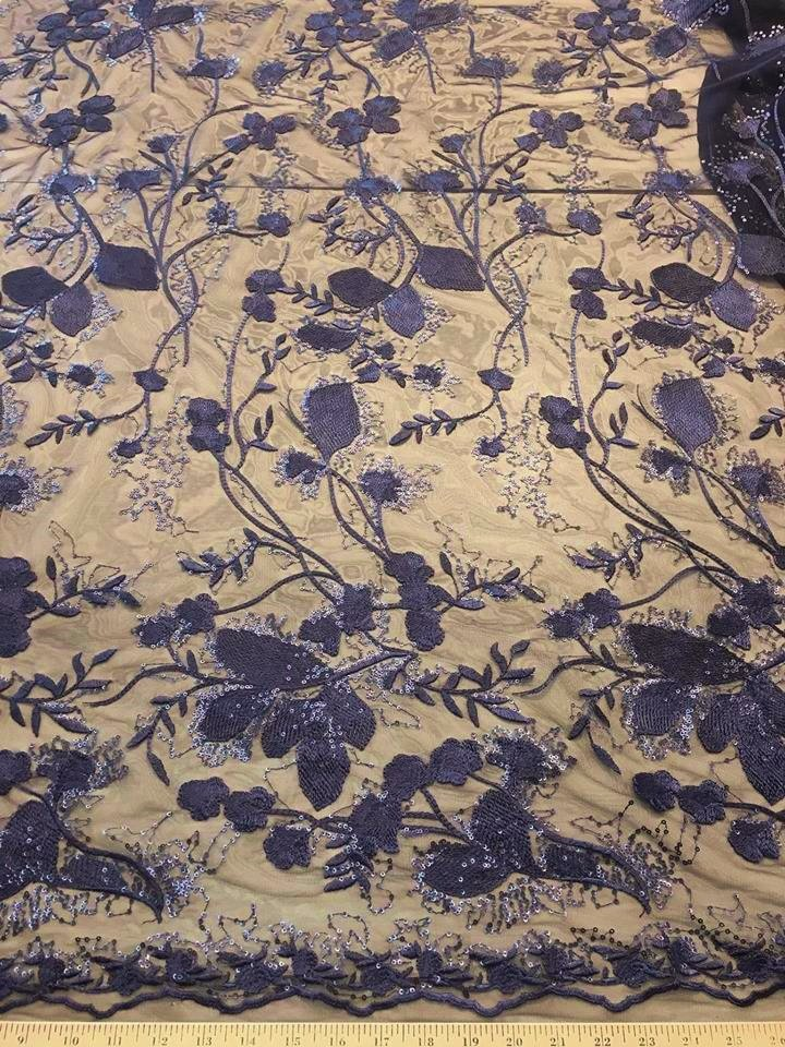 Navy Blue Ginkgo Leaves Embroidered Mesh with Sequins