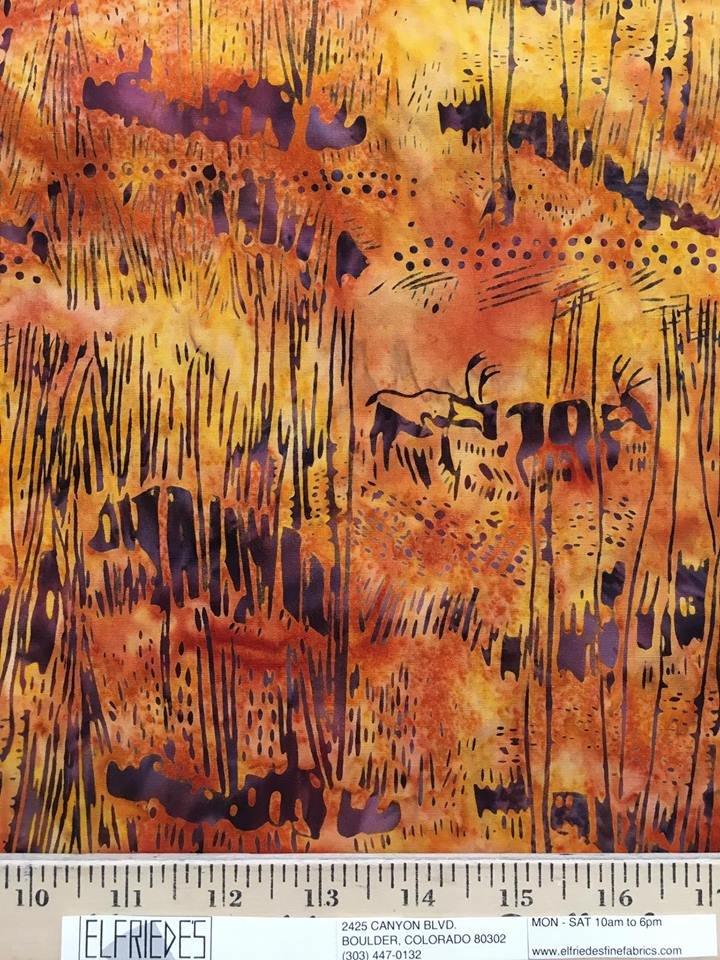 Western Animals on Gold Batik