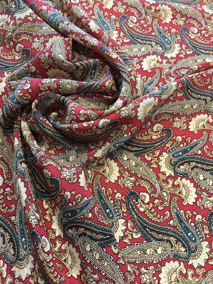 Medium Paisleys on Red Silk