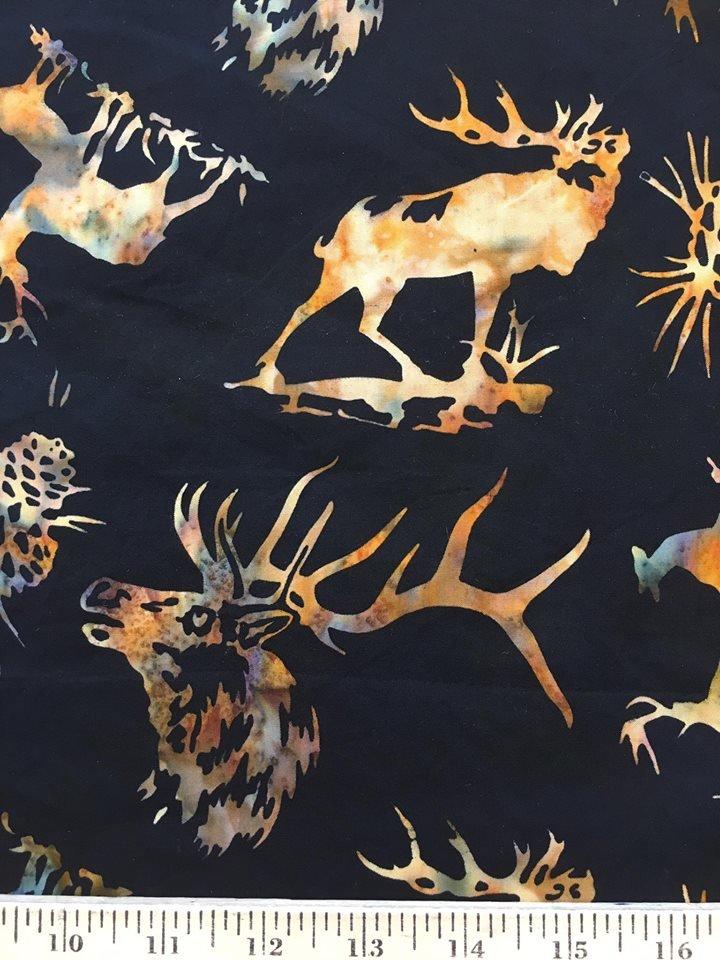 Golden Elk on Black Batik