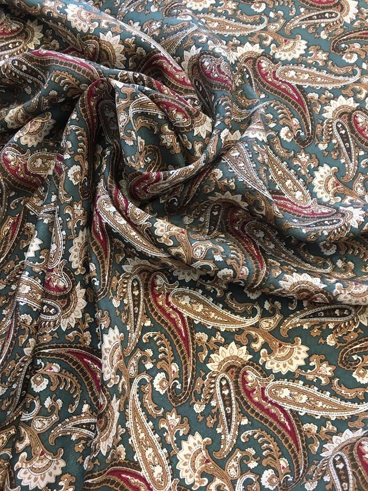 Medium Paisleys on Green Silk