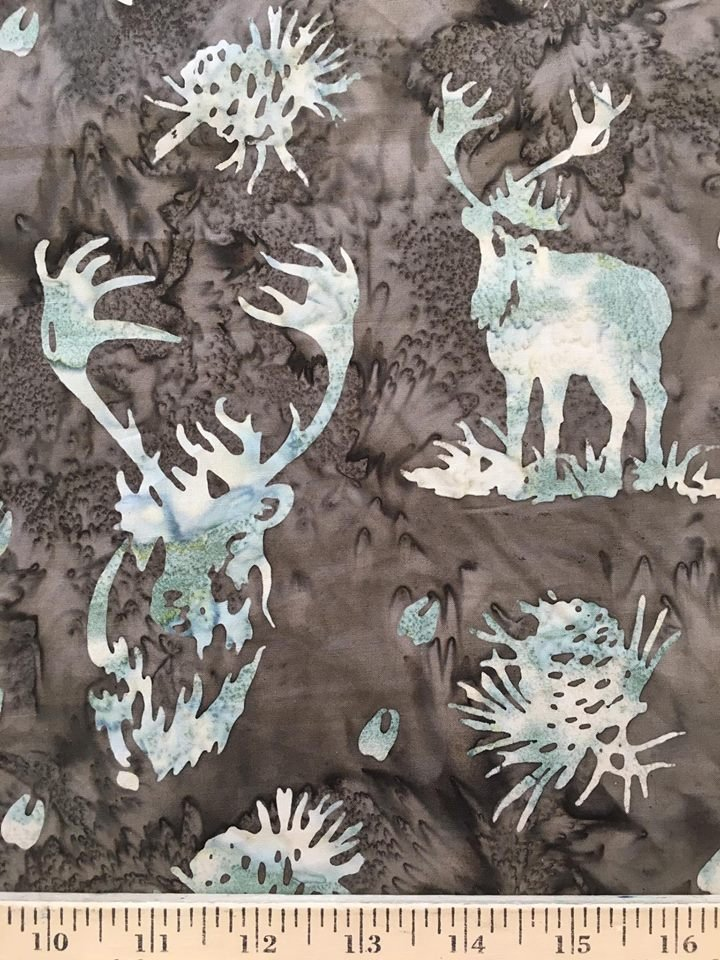 Pale Green Deer on Brown Batik