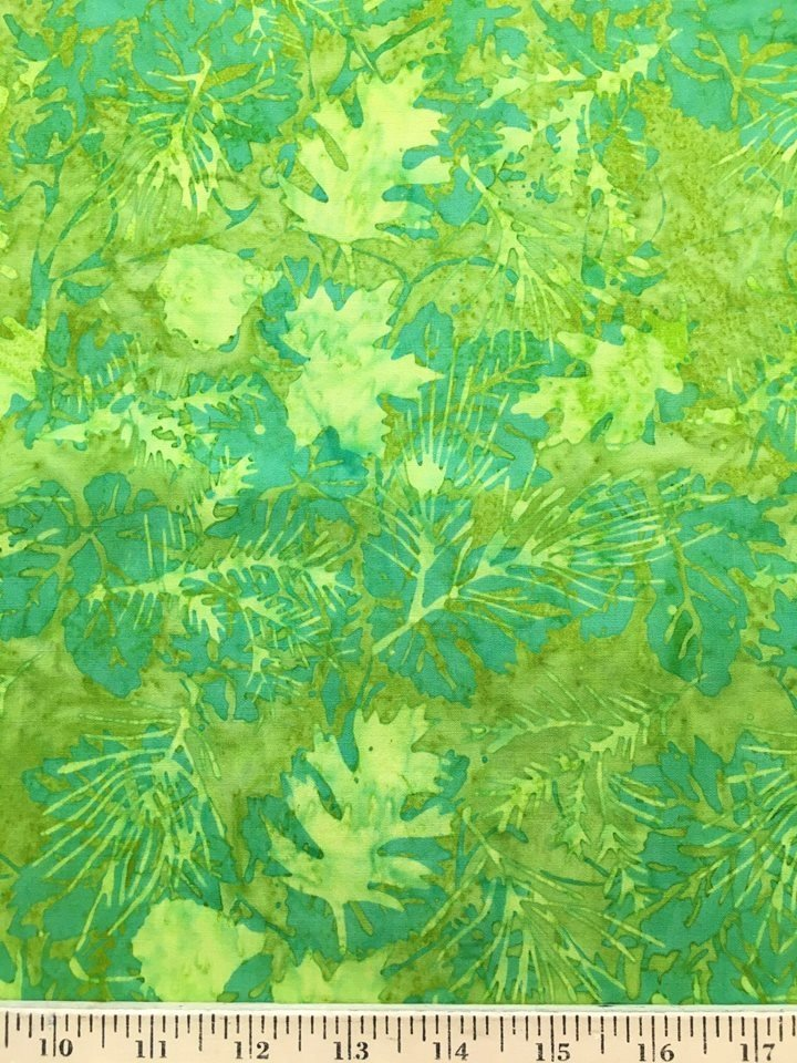 Green Leaves on Chartreuse Batik