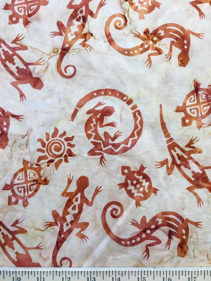 Orange Geckos on Cream Batik