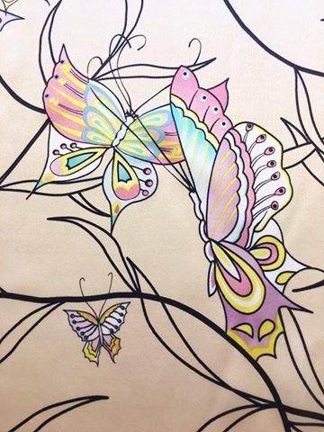 Butterflies on Dark Cream Silk