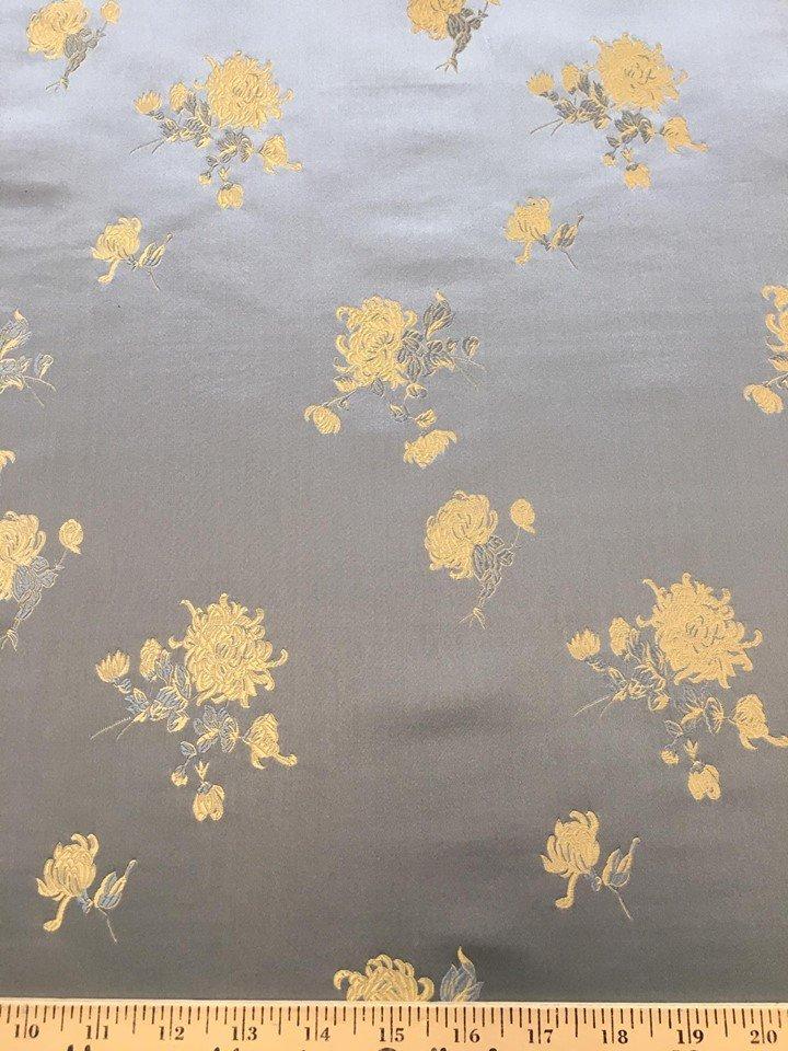 Pale Gold Chrysanthemums on Powder Blue Brocade