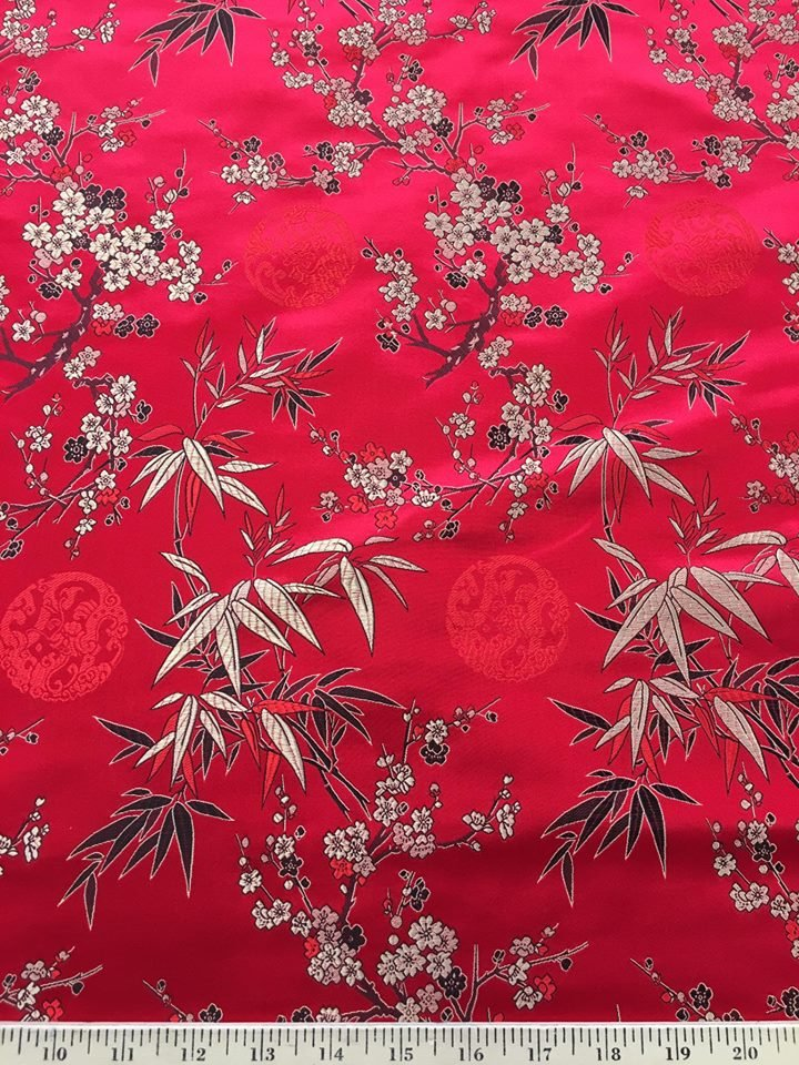 Cherry Blossoms Brocade on Red