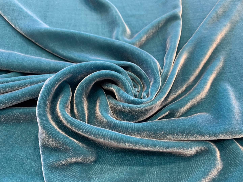 Mallard Blue Silk Velvet