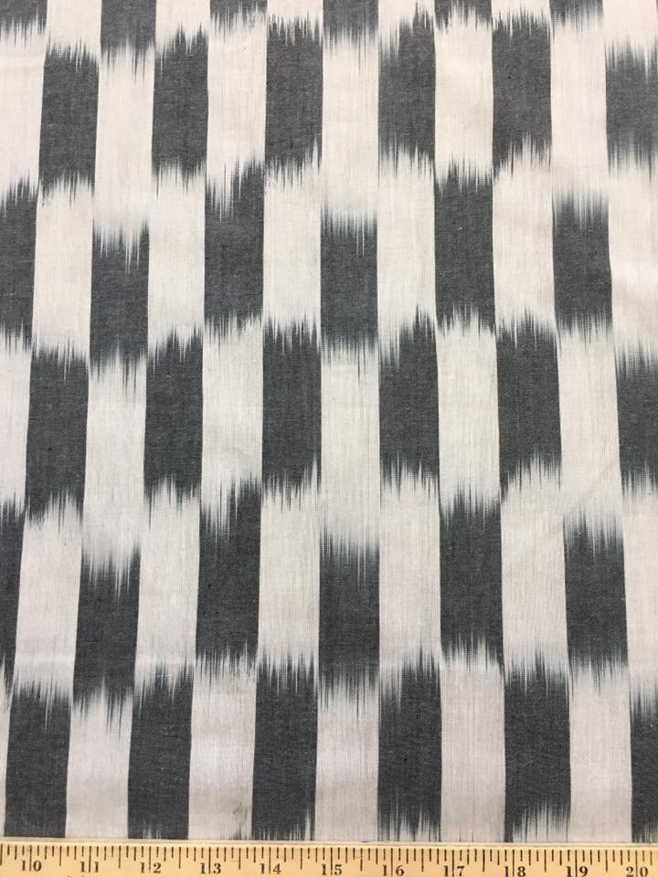 Ikat Stripe in Grey and White