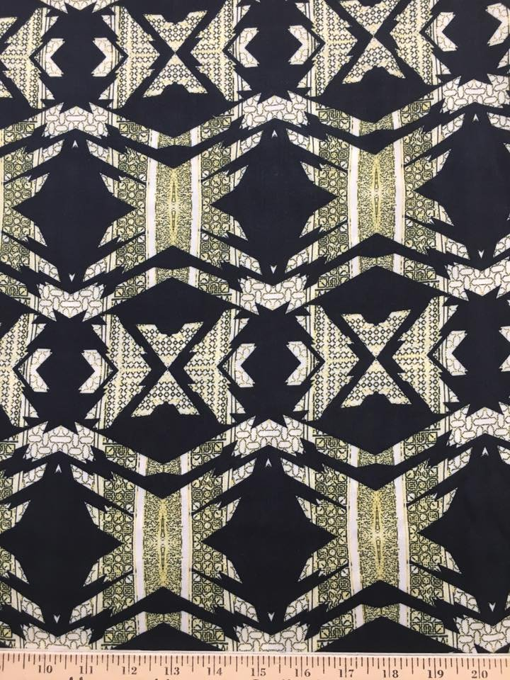 Green and Black Printed Rayon