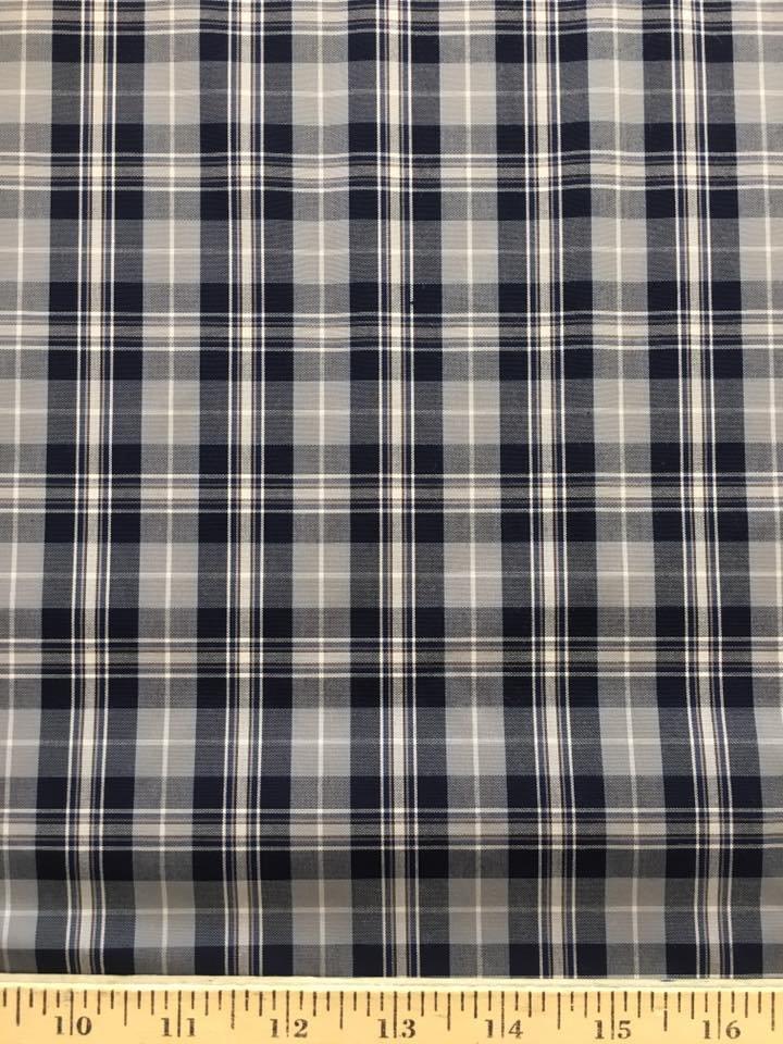 Navy and Grey Plaid Shirting