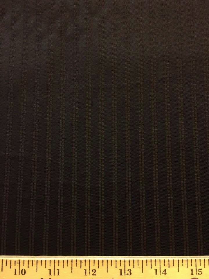 Brown Double Stripe on Black Shirting