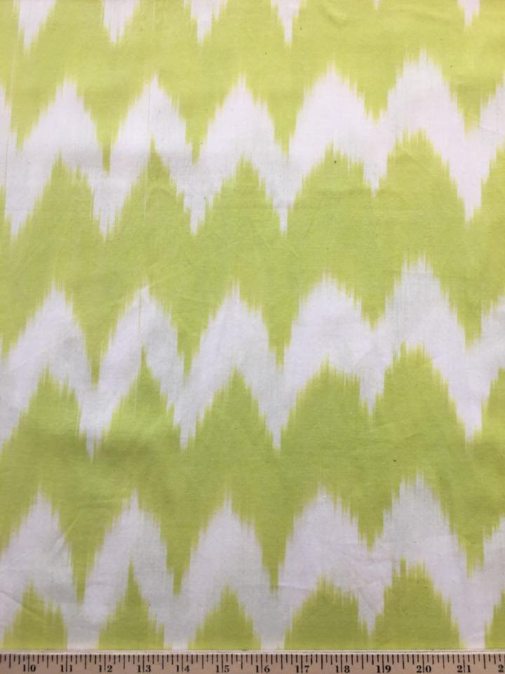 Chartreuse and White Ikat
