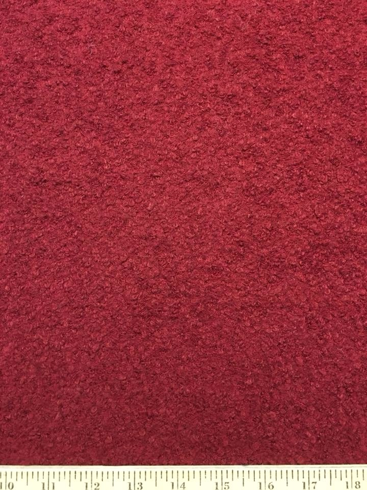 Burgundy Wool Blend Boucle