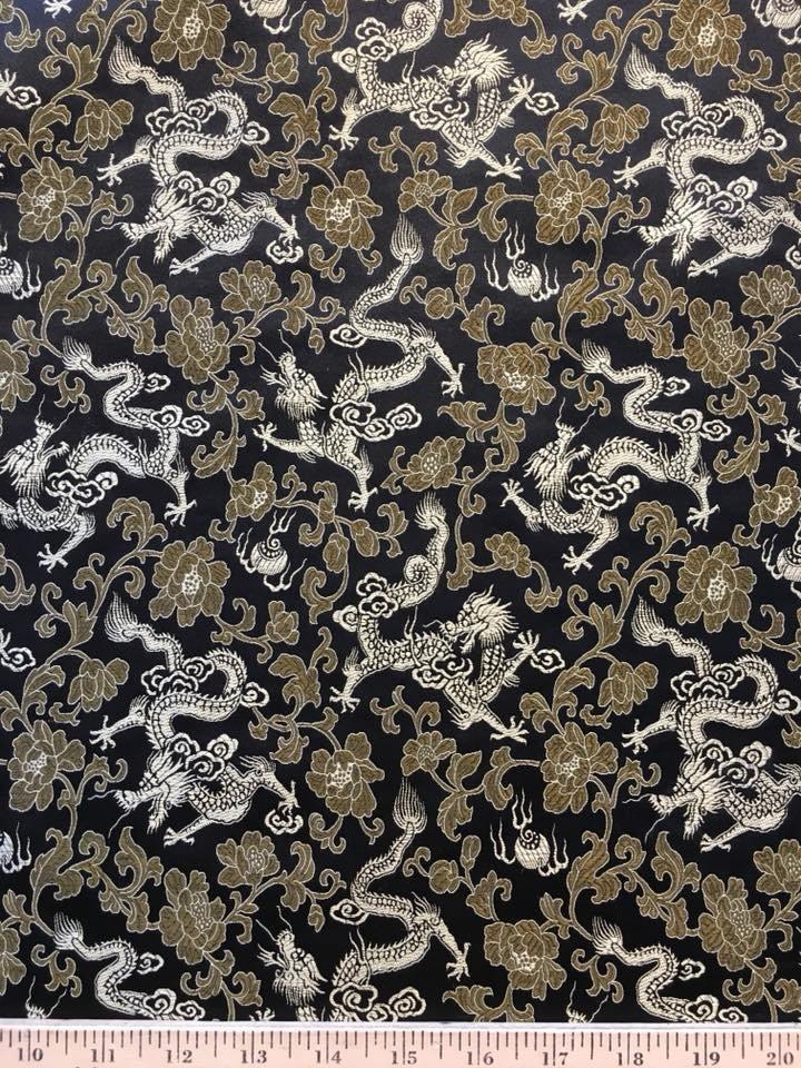 Ochre Gold Dragons on Black Brocade