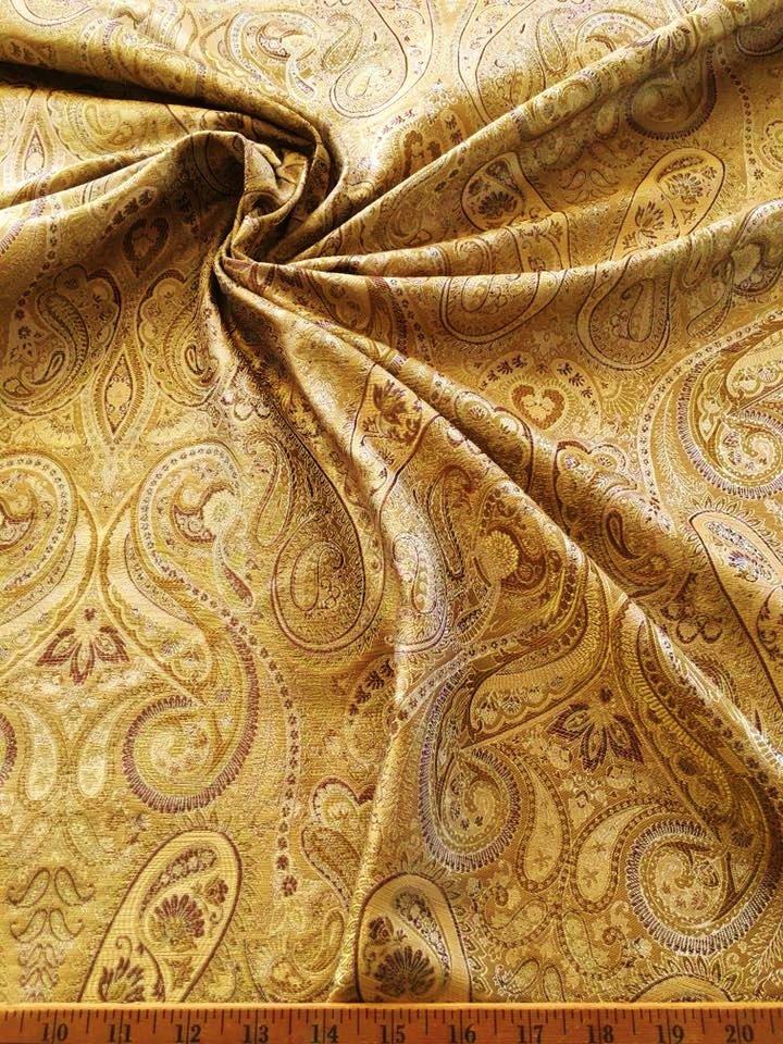 Gold Paisley Jacquard Silk Blend