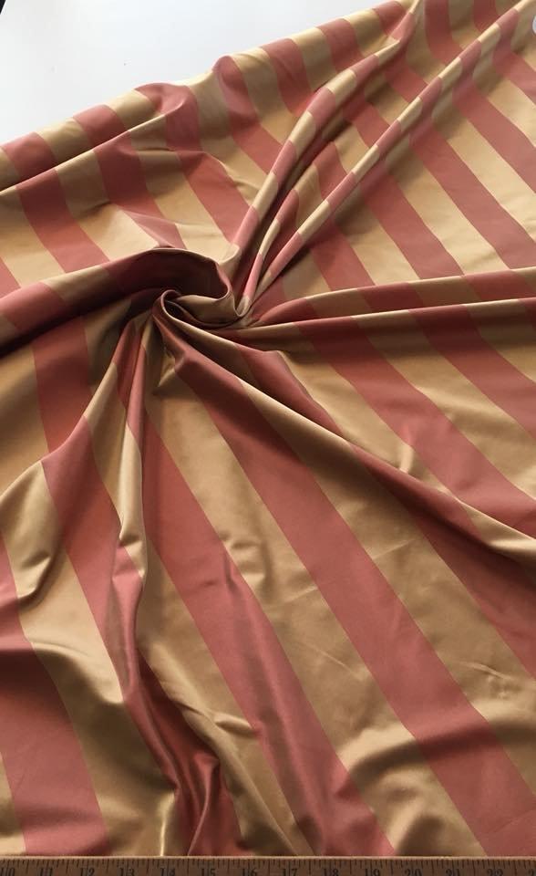 Peach and Gold Wide Stripe Silk Taffeta