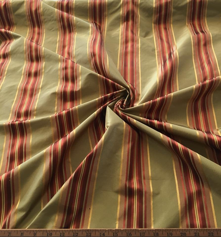 Green with Rust Stripe Shantung