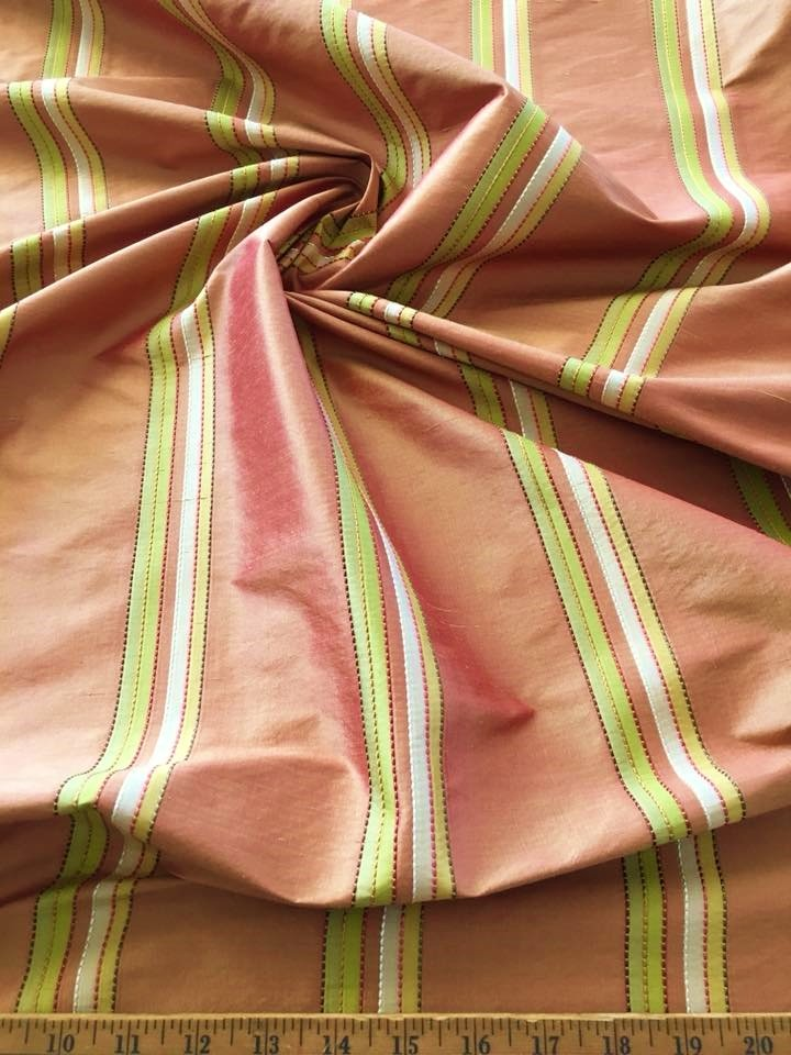 Rust Taffeta with Green Gold Stripe