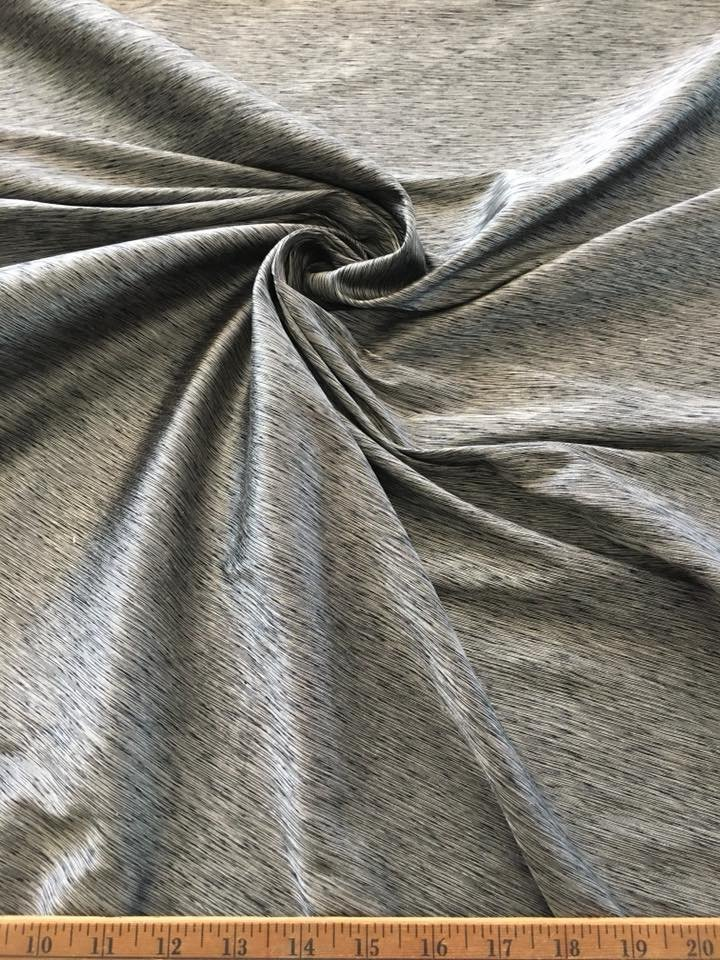 Silver and Black Yarn Dyed Shantung