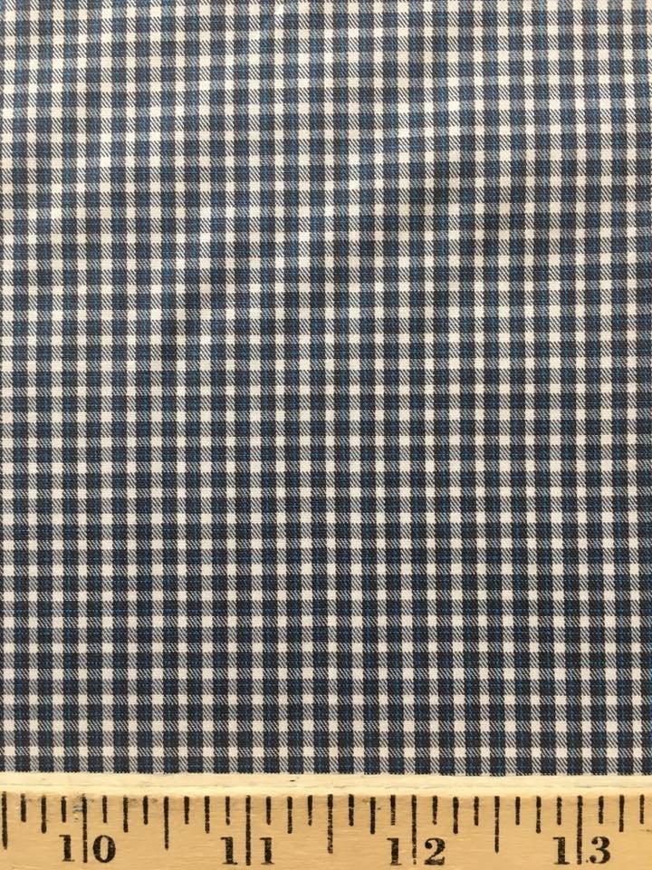 Tiny Grey, Blue, White Check Shirting