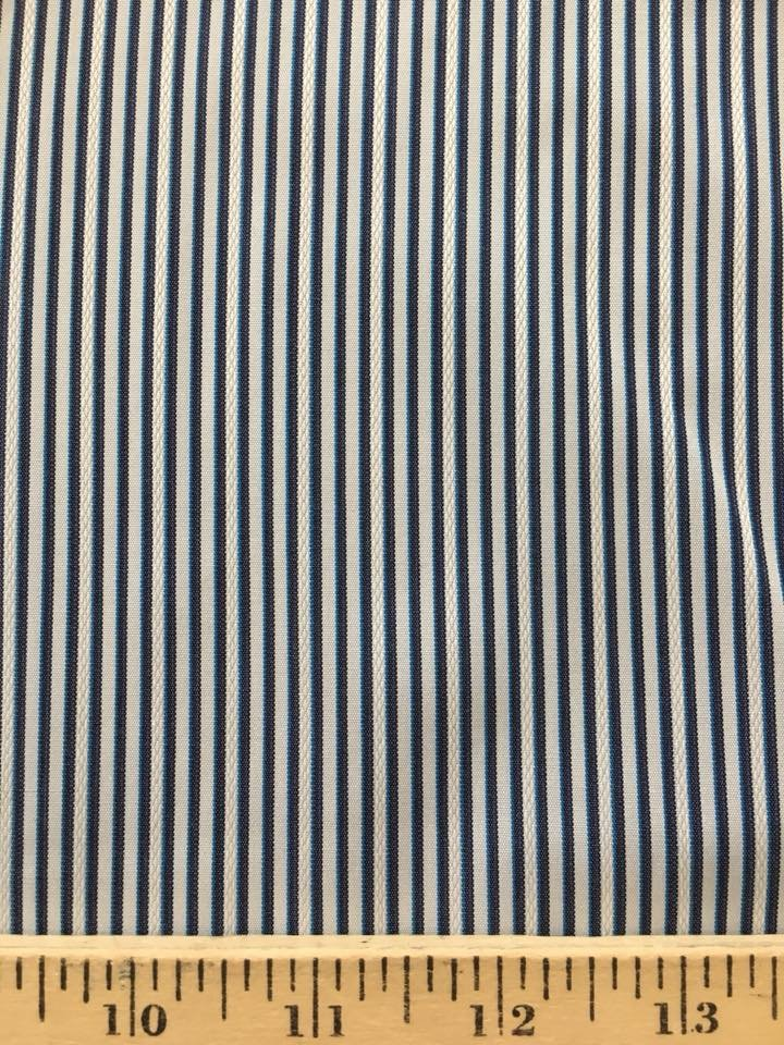 Corded Narrow Blue and White Stripe
