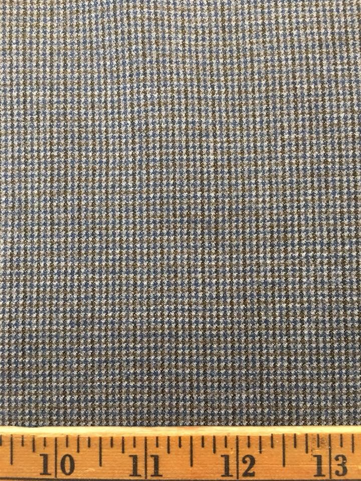 Tiny Brown Blue Check on Grey Wool