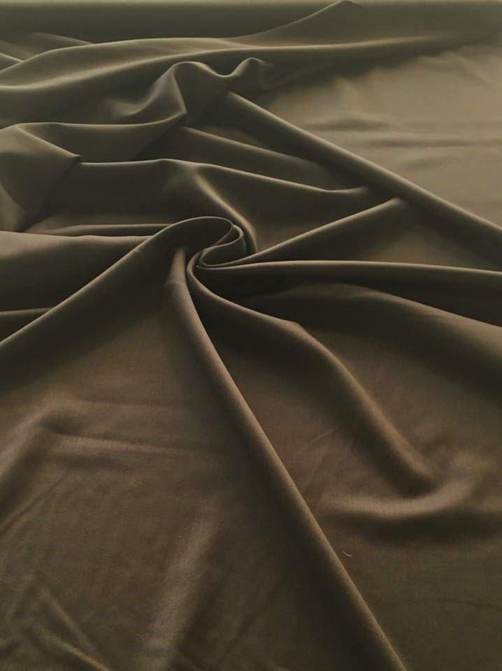 Brown Loden Wool Gabardine