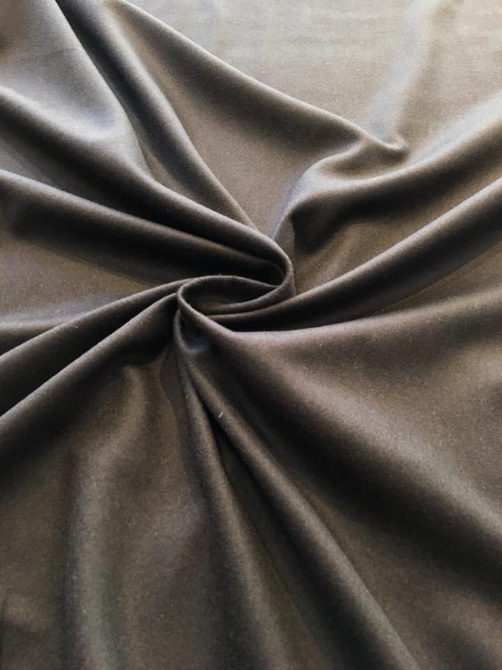 Dark Chocolate Brown Cashmere Silk Flannel