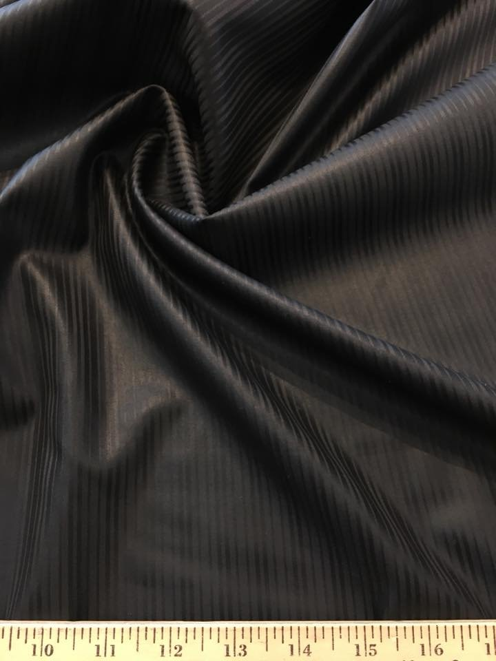 Black on Black Wool Satin Stripe