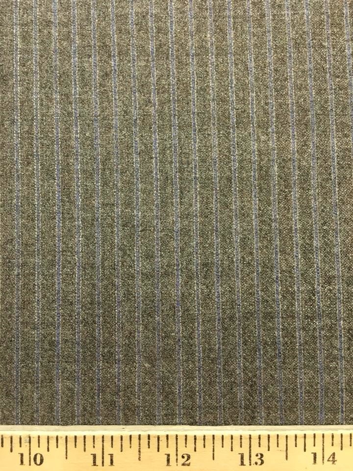Taupe Grey Wool with Blue Stripe