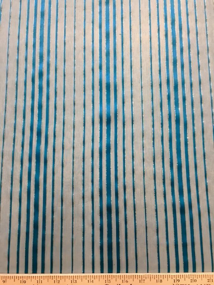 Turquoise Ribbon Chiffon with Lurex