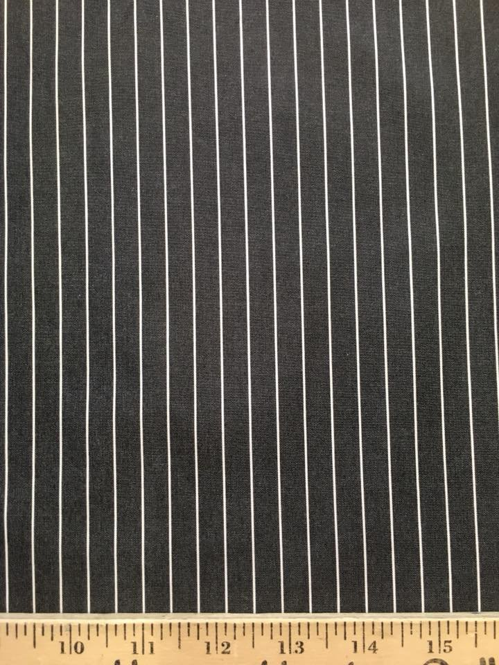 Charcoal and White Pinstripe Shirting