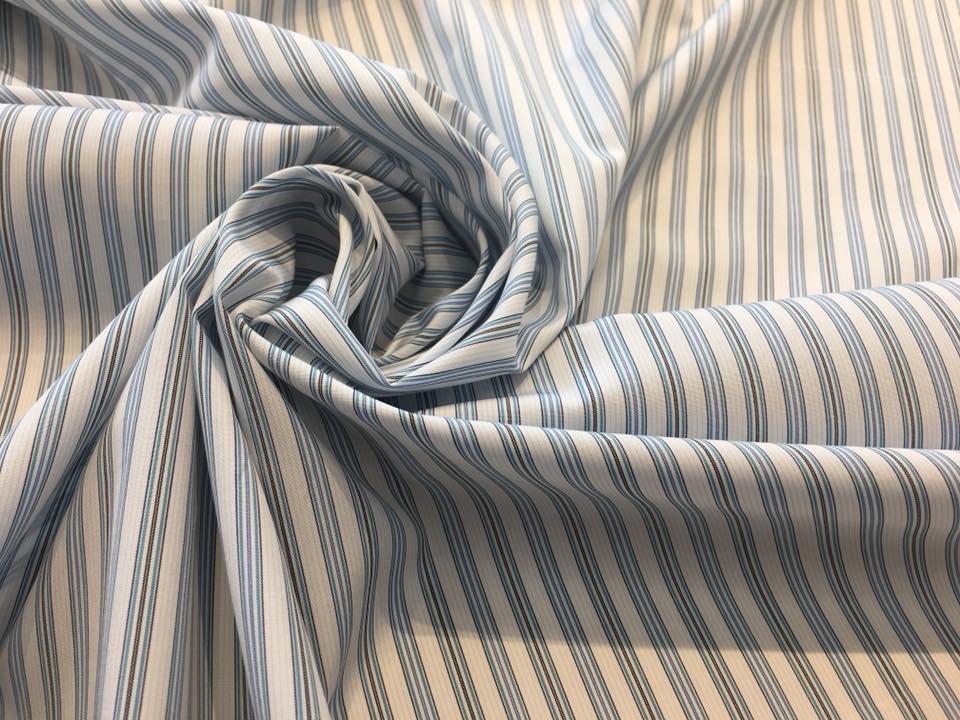 Teal, Blue, Black Stripe on White