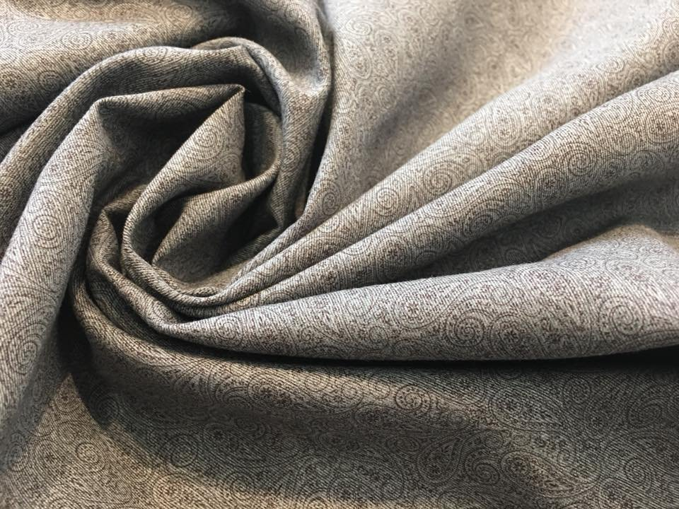 Subtle Brown Paisley on Grey Twill