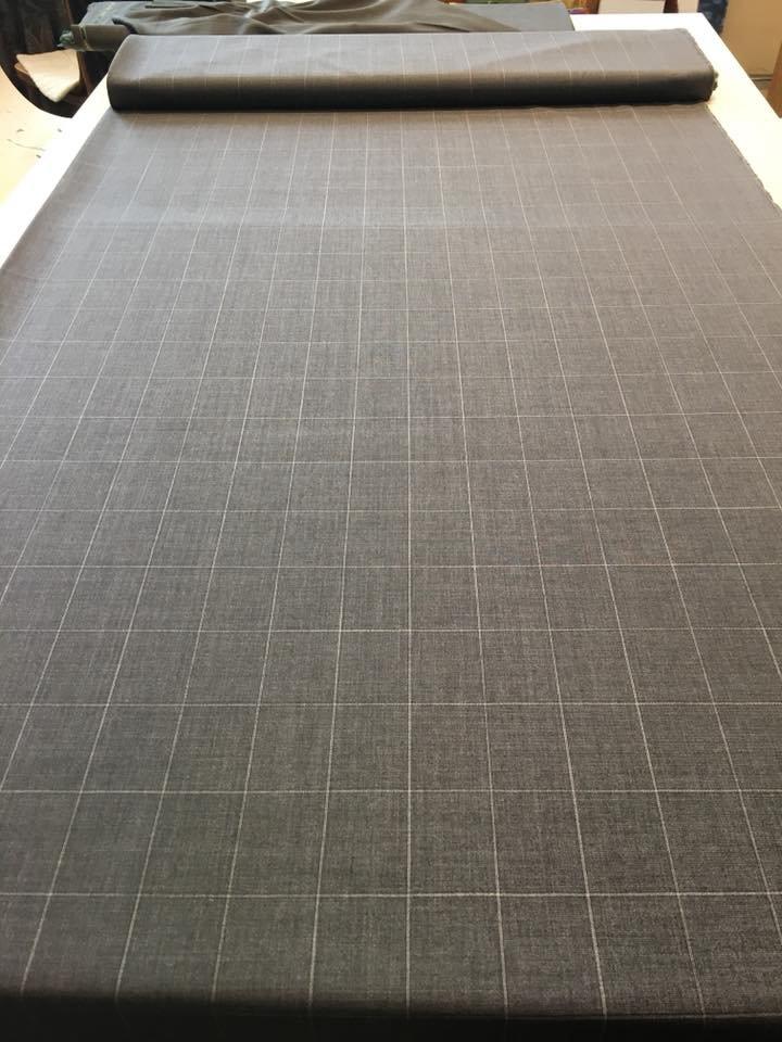 Grey Window Pane Tropical Wool