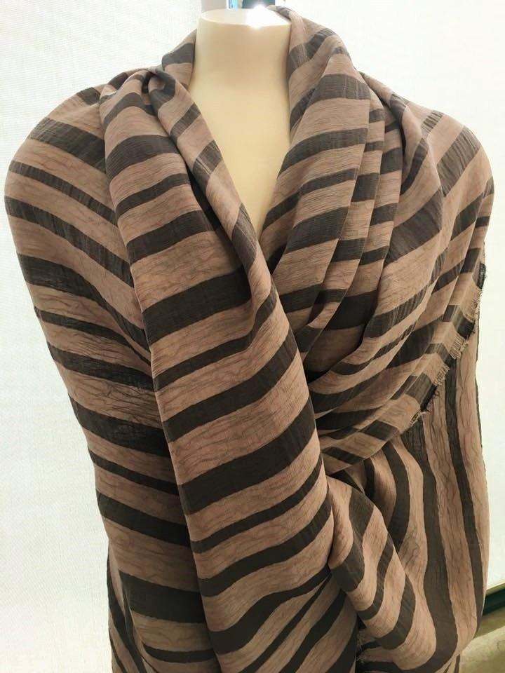 Striped Double Chiffon with Lurex