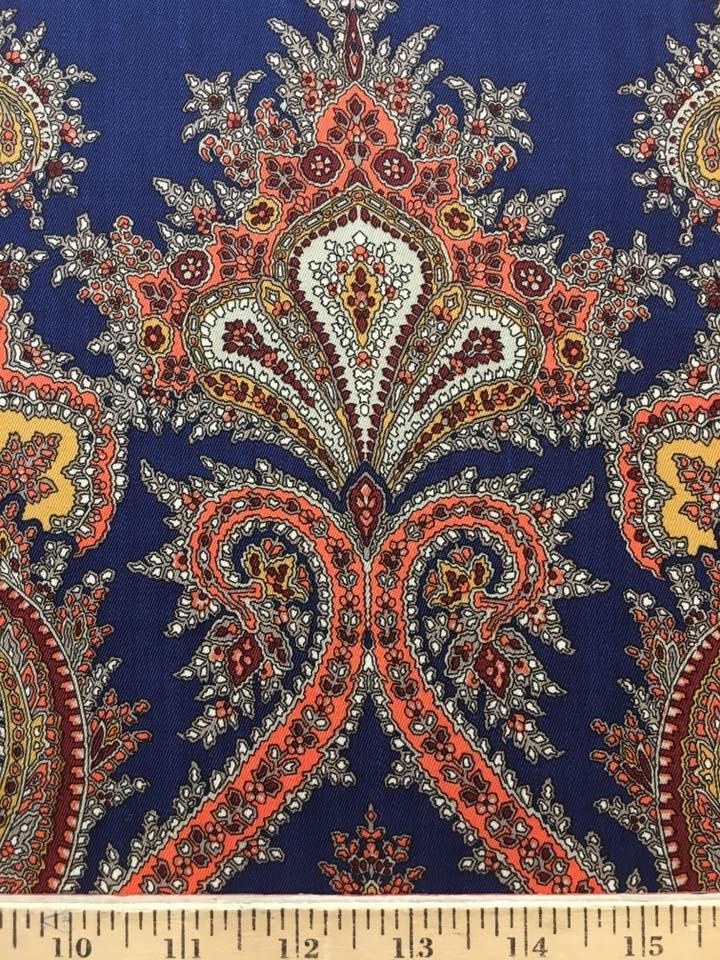 Blue Orange Paisley Italian Wool by G.V.