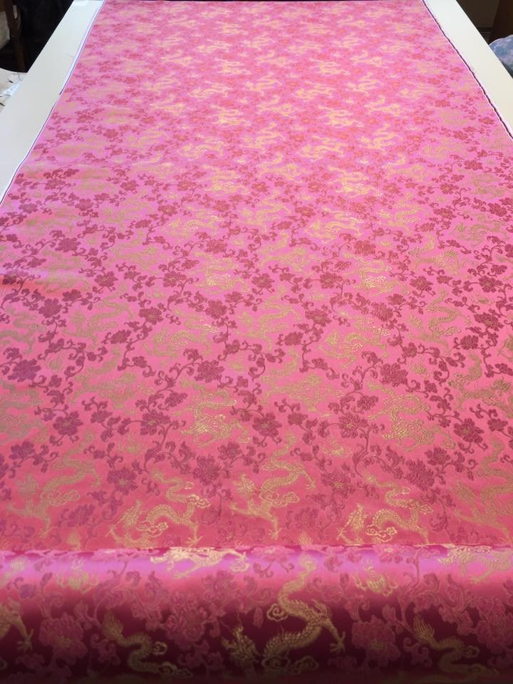 Pink Brocade with Gold Dragons