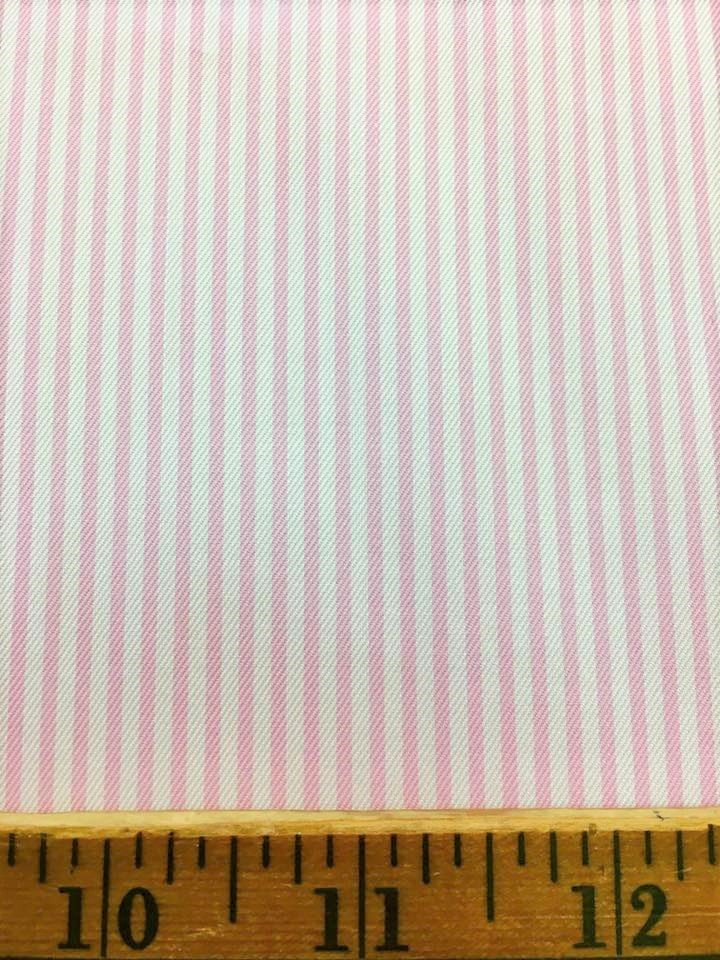 Pink and White Striped Twill Shirting