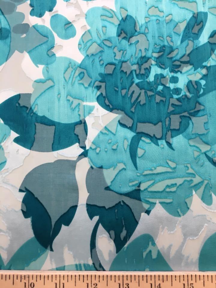 Turquoise Flowers Burnout