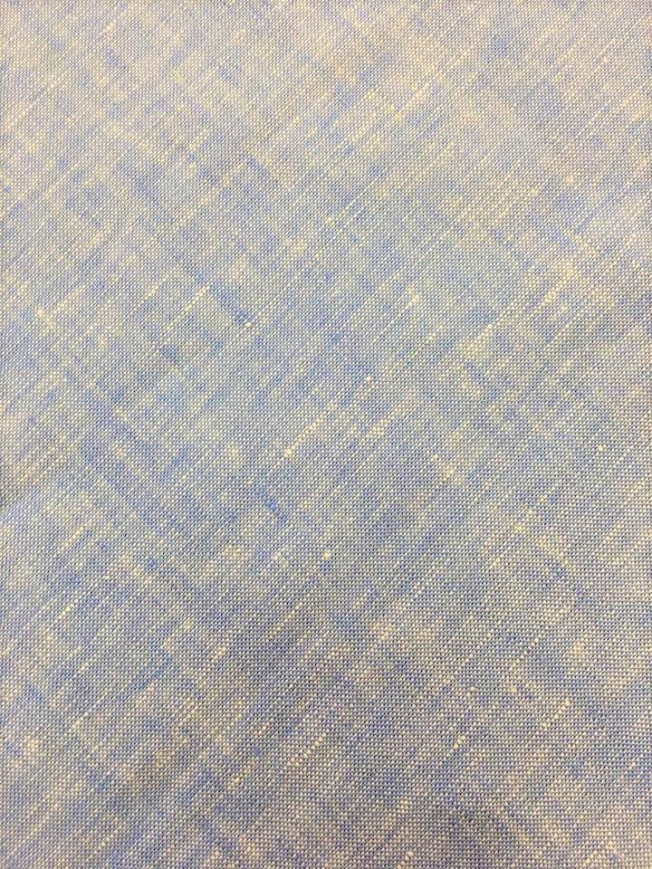 Sky and White Bi Weave Linen
