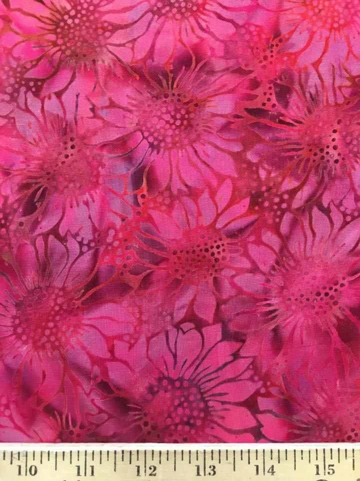 Pink Sunflowers Rayon Batik