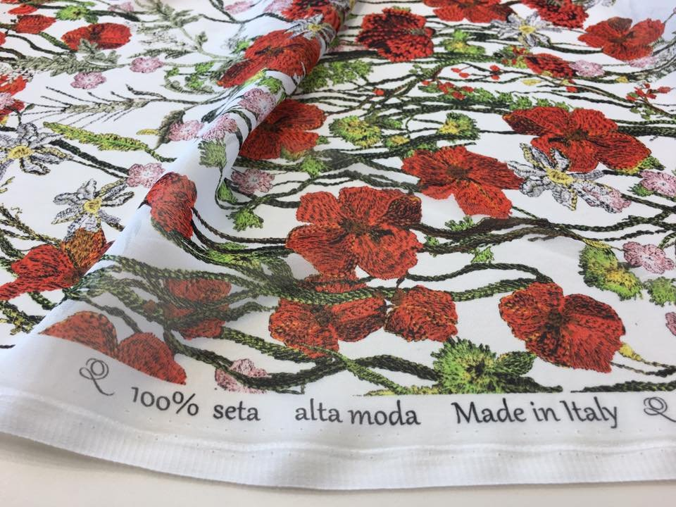 Red Poppies on Silk Chiffon