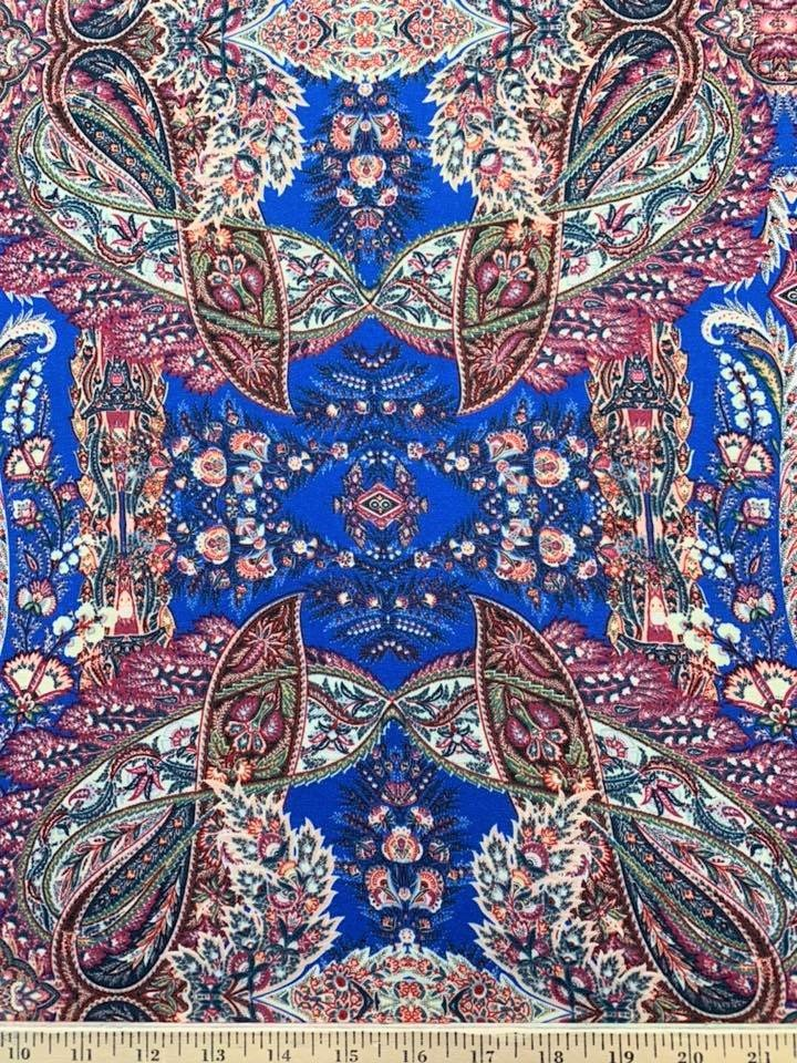 Blue Pink Paisley Jersey