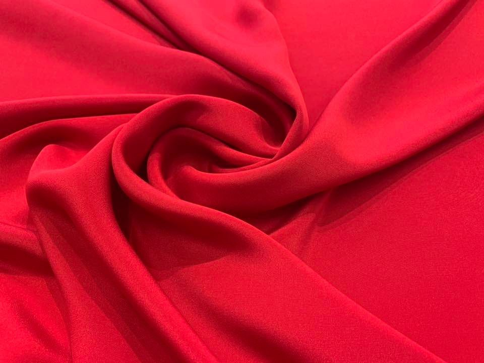 True Red 2 ply Silk Crepe