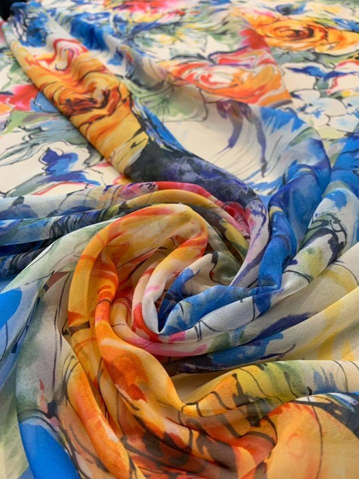 Seaside Garden Silk Chiffon